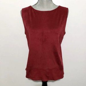 BCNU merlot vegan sleeveless suede top M